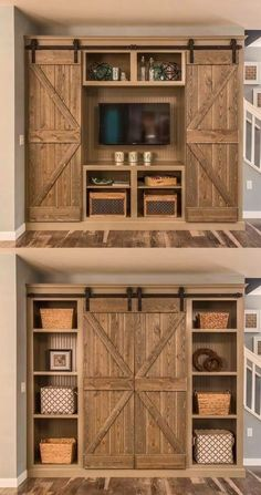 Barn Door Projects that Will Make You Want to Remodel Bookshelves and sliding-door entertainment center. Old style stain techniqueBookshelves and sliding-door entertainment center. Old style stain technique Rustic Decor, Farmhouse Decor, Farmhouse Style, Rustic Wood, Modern Farmhouse, Country Style, Farmhouse Design, Diy Wood, Rustic Style