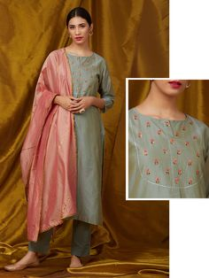 Grey Embroidered Chanderi Kurta with Cotton Pants and Peach Dupatta- Set of 3 Kurta Designs Women, Salwar Designs, Kurti Designs Party Wear, Blouse Designs, Kurta Cotton, Cotton Pants, Dress Indian Style, Indian Outfits, Velvet Suit Design