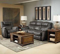 Montgomery Padre Grey Fabric PU Living Room Set
