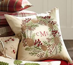 Pinecone & Berry Wreath Embroidered Pillow Cover #potterybarn