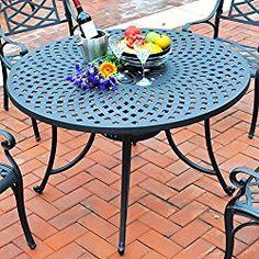 Crosley Furniture Sedona 48-Inch Cast Aluminum Dining Table, Charcoal Black