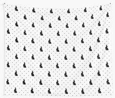 Black rabbits on white by Alla Rinchino