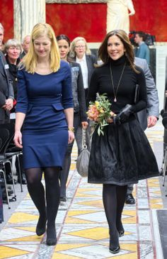 (R) Crown Princess Mary of Denmark teamed for the first time with the Minister Sofie Carsten Nielsen at the Glyptothek in Copenhagen on 06 Feb 2014 for the Elite Research Prize.