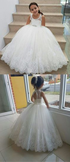 White Lace Flower Girls Dresses Ball Gown for Wedding Party 2018