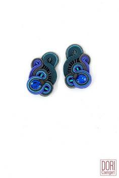 Accent blue clip on earrings by Dori Csengeri #DoriCsengeri #blueearrings #smallearrings #casualearrings #uniqueearrings #designerearings #cliponearrings
