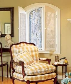 Yellow Gingham.....love! I want this chair for my bedroom!