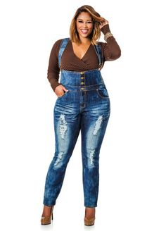 6dfb6fbd3493 High Waisted Destructed Overalls. Ashley Stewart. DungareesPlus Size ...