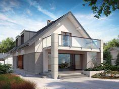 Projekt domu Alwin 171,57 m2 - koszt budowy - EXTRADOM Dream House Plans, Modern House Plans, Small House Plans, Terrace Design, Facade Design, Architecture Design, House Front Design, House Design Photos, Bungalow Conversion