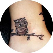 Small Owl Tattoo Design: On Ankle