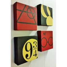 A set of 4 Harry Potter Minimalist Hand Painted Acrylic Canvas (55 AUD) ❤ liked on Polyvore featuring home, home decor, wall art, canvas home decor, canvas wall art, acrylic canvas painting, canvas painting and acrylic painting