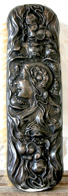 Unger Brothers sterling silver clothes brush,  woman with Art Nouveau poppies