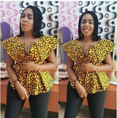 Upgrade your wardrobe staple by adding a colorful print into your closet! Every lady needs one or two or more Ankara tops to spice up her look whenever she steps… African Tops For Women, African Dresses For Women, African Print Dresses, African Attire, African Wear, African Prints, African Fashion Designers, Latest African Fashion Dresses, African Print Fashion