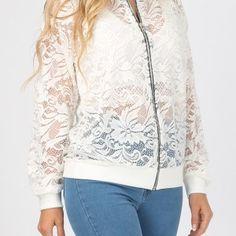 lace bomber jacket white - fashion - trendy - style - purple reign White Fashion, Trendy Fashion, Purple Reign, Trendy Style, Women Wear, Bomber Jacket, Lace, Jackets, Shopping