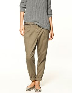 Chino style trousers.