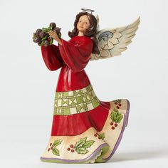 Jim Shore Heartwood Creek Red and Green Angel with Holly Christmas 4047761 NEW