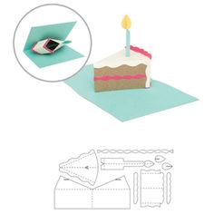 Birthday Cake Pop Up Cutting Die by We R Memory Keepers Pop Out Cards, 3d Cards, Paper Cards, 3d Templates, Pop Up Card Templates, Tarjetas Diy, Kirigami Patterns, Paper Pop, Wafer Paper