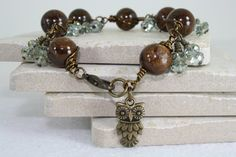 Bronzite Bracelet with Light Green Crystals and Owl Charm