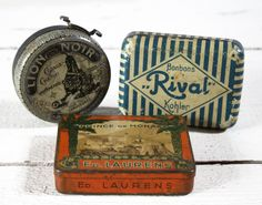 3 Old  LITTLE french TIN Boxes  Shabby chic