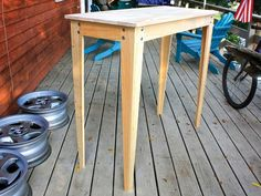 Make a strong, elegant table in just one evening and learn a new woodworking trick while you're at it: cutting  tapers with a simple taper jig for your table saw. Make A Table, Table Saw, Homemade Tables, Pine Table, Elegant Table, Green Woodworking, Woodworking Shop, Woodworking Projects, Woodworking Plans