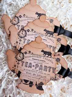 Tea Party Bridal Shower Teapot Vintage Tags Set of Five. $6.95, via Etsy. Maybe a mad hatter bridal tea party:)