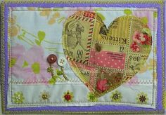 quilted fabric postcard ~ liberal sprinkles http://liberalsprinkles.blogspot.com/ #sewing