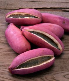 Akebi Fruit; This brilliantly fruit (also purple) thrives in northern Japan, in the Tohoku area, but only briefly, making an appearance for about two weeks in early autumn. It grows on a wild vine (aka chocolate vine) and, for many Japanese people, is a symbol of the changing seasons.