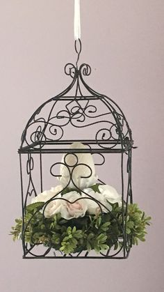 Bird cage decor  floral rose decor  shabby by BsCozyCottageCrafts