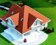 Proiect-casa-cu-Mansarda-18011-perspectiva House Doors, Facade House, Home Building Design, Building A House, Casas Country, Modern Tv Room, Bungalow Style House, House Design Pictures, House Construction Plan