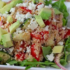 Greek Couscous Salad with Avocado Recipe Salads with water, couscous, olive oil, red wine vinegar, lemon, dried oregano, chopped tomatoes, cucumber, purple onion, avocado, arugula, pepper, salt