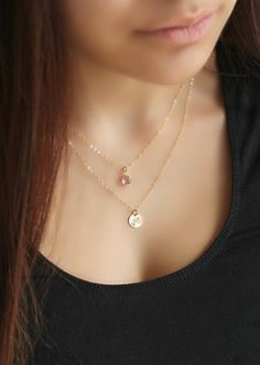 14k gold filled Layered Initial Necklace with Swarovski Birthstones, personalized stamped disc, Double chain, Monogram Letter, two 2 strands