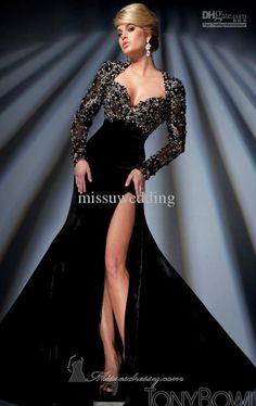 Black Free shipping Sweetheart Long sleeves Open back Sexy Prom dresses Formal evening dress Plus