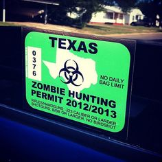 Zombie Hunting Permit Stickers - $4