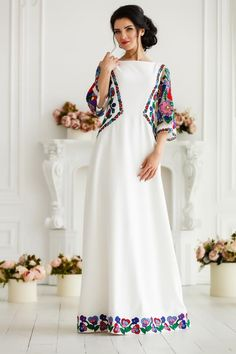 A line prom dress with floral colorful embroidery - Bridal dress with ethnic Ukrainian embroidery - Three quarter sleeves maxi dress - Shiny pretty things :) - makeupwerkzeug A Line Prom Dresses, Day Dresses, Bridal Dresses, Beige Dresses, Elegant Dresses, Manga 3 4, Mexican Dresses, Festival Dress, Embroidery Dress