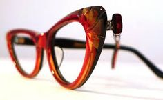 11e555fcf32f Ruby Red and Honey Dipped Carved Cat Eye Glasses Frames