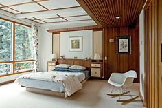I really like wooden walls, for me it's warm and welcoming and has a 70s feel, it only needs a bit more splashes of colour.