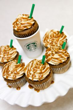 Starbucks Cupcakes - coffee base filled with whipped cream, topped with coffee buttercream and caramel drizzle