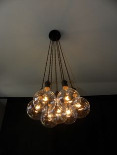 7 Cluster Chandelier Pendant Lighting modern any color custom Rainbow Colors Cloth Cords Industrial pendant light ceiling fixture lamp by HangoutLighting on Etsy