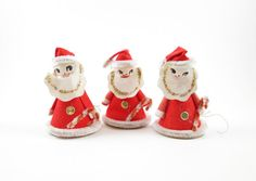 3 Santa Claus Christmas Tree Ornaments Cardboard Decorations Vintage Chenille Pipe Cleaner Candy Canes AtomicPutz,com