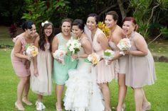 Hawaii Wedding. Mint green. Pastel Bridesmaids. Bridesmaids. Maid of Honor.