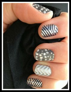 Silver, metallic, and chevron nails