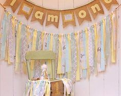 ON SALE NOW Pink mint gold Name Banner Burlap Lace