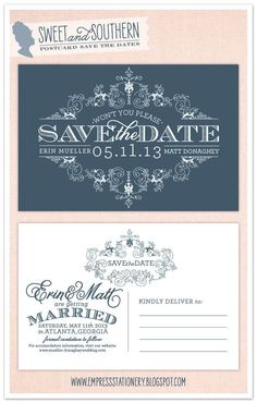 southern save the dates   Sweet & Southern Save the Date Postcard   Wedding Stationary