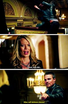 Oliver is the worst liar. Makes sense that everyone he's close to knows that he's the Green Arrow