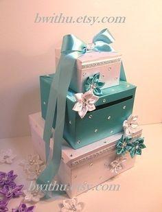 Blanc et Turquoise mariage carte boîte boîte argent boîte porte-carte--personnaliser votre commande de couleur personnalisé. on Etsy, 84,41 €