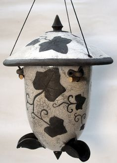 Ivy Vines Raku bird feeder