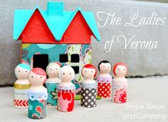 The Ladies of Verona: wooden peg dolls from simple simon Wood Peg Dolls, Clothespin Dolls, Diy For Kids, Crafts For Kids, Diy Crafts, Foam Crafts, Wooden Crafts, Operation Christmas Child, Wooden Pegs