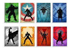 Superheroes Poster Set, .Avengers8 Minimalist Poster Set, Captain America, Hulk…