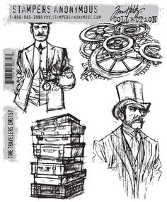 "Tim Holtz contacted Brett Weldele to see if he was interested in drawing a set of stamps based on his artwork (next pin).  Fast forward to now and here it is the ""time travelers"" stamp set from stampers anonymous…"