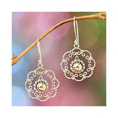 These flower dangle earrings will add a beautiful silhouette to any look. Each earring features an 18-karat gold gemstone in the center that is sure to draw the attention of any admirer. The silver flower frames will make any outfit appear brighter.http://www.overstock.com/Worldstock-Fair-Trade/Gold-Overlay-Delightful-Denpasar-Earrings-Indonesia/7005186/product.html?CID=214117 $37.99