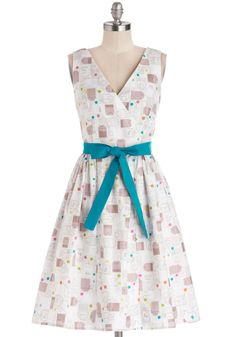 In the Key of Chic Dress in Tea Time. Help your outfit harmonize beautifully with the afternoon's special occasion by wearing this chic, printed frock by Bea  Dot, found exclusively at ModCloth! #multi #modcloth